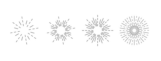 Sunburst icon. Burst vector. Sunburst set. Linear style. - vector illustration
