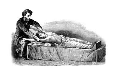 Illustratiofn of a man making a massage to other man  in a vintage book Hygiene course, S. Vishnevskiy, 1886