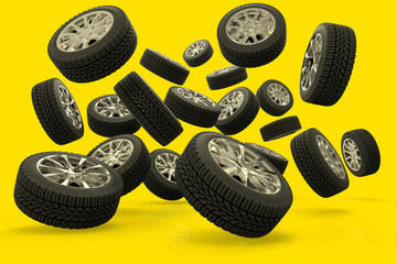 3D rendering of a large group of tires against a yellow background