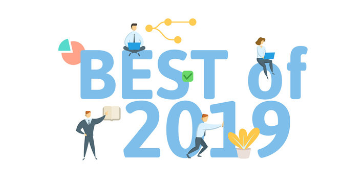 Best of 2019. Concept with people, letters and icons. Colored flat vector illustration. Isolated on white background.