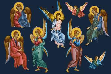 Archangels set. Illustration - frescos in Byzantine style.
