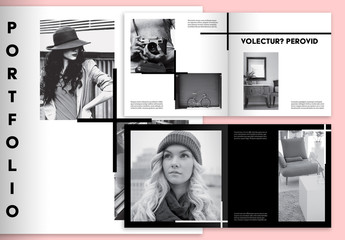 Minimalist Square Portfolio Layout with Black and White Accents