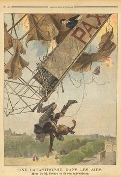 Ilustração da explosão do dirigível Pax, desastre que vitimou o aeronauta brasileiro Augusto Severo de Albuquerque Maranhão (1864-1902) e o mecânico francês Georges Sachet (1876-1902)