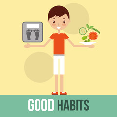 boy with weight sale and vegetable good habits