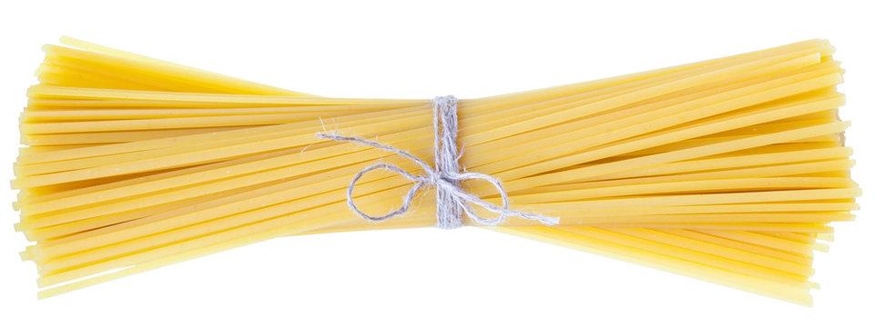 Raw linguine pasta isolated