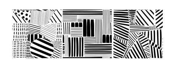 Wall Mural - Various lines and shapes. Set of three black and white abstract seamless patterns. Hand drawn vector illustration. Every pattern is isolated
