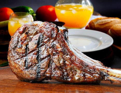 freshly grilled Tomahawk steaks