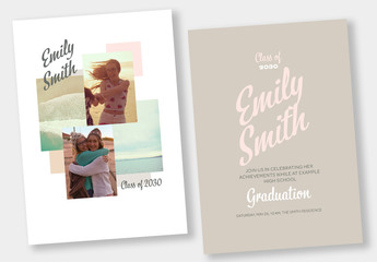 Graduation Invitation Stationery Set with Pink and Brown Accents