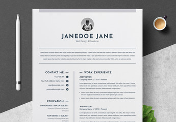 Minimalist Resume and Cover Letter Layout with Grayscale Elements