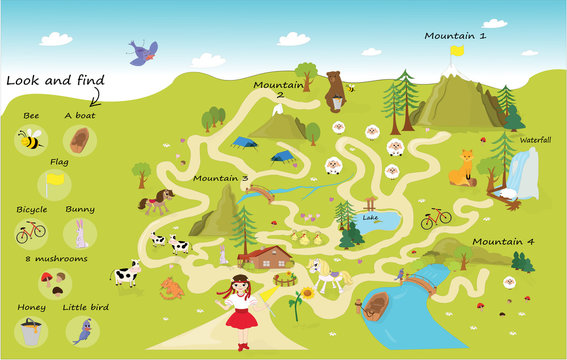 Funny maze for children. Help the girl on a trip to the mountains. Mini games collection. the maze puzzle game template illustration. Illustration of a maze puzzle with forest and mountains background