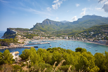 Wall Mural - Panoramic view of Port de Soller, Mallorca.