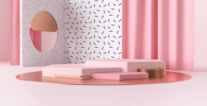 3d render abstract platforms with golden, pink shapes and curtains. Geometric figures in modern minimal design. Realistic mock up for promotion, banners background, product show