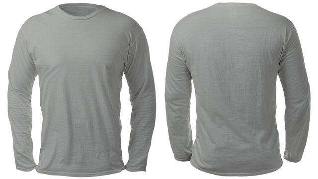 Gray Long Sleeved Shirt Design Template