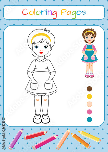 Funny little paper doll, girl. Coloring book. Educational game for ...