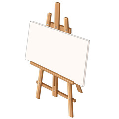 Easel with white canvas