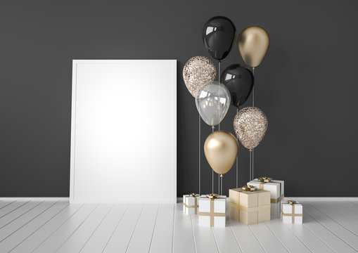 Interior mock up scene with black and gold gift boxes and balloons on dark background. Realistic glossy 3d objects for birthday party or promo posters or banners. Empty space for poster size design.