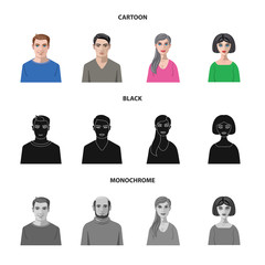 Vector illustration of hairstyle and profession  icon. Set of hairstyle and character  stock symbol for web.