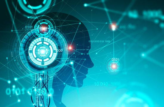 Robot head silhouette, green HUD interface