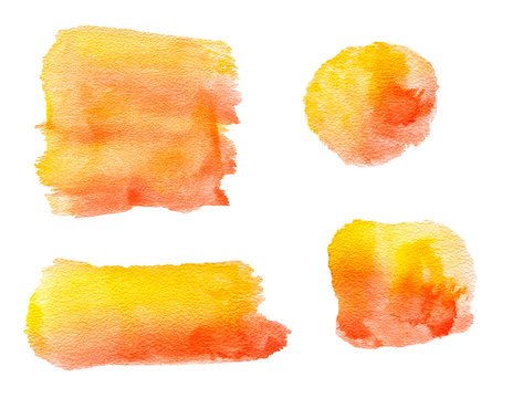 Abstract watercolor painting set lines, circle forms with yellow and red color isolated on white background