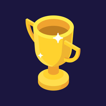 Trophy or award for champion, isometric vector illustration. Isolated on white background. Cup icon, winner and competition