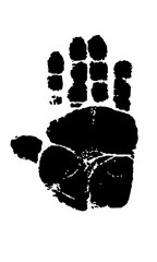 Footprint Imprint of the monkey's right paw. Vector image