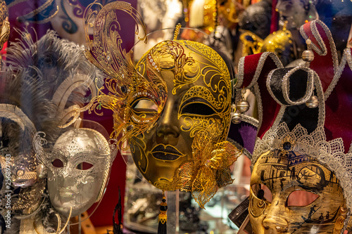 Italy, Venice, carnival 2019, typical Venetian masks and