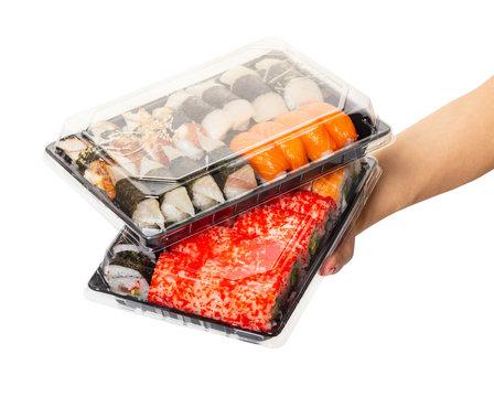 Sushi set hold hands