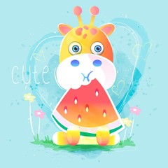 cute giraffe eating watermelon. vector