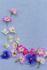 Beautifuil, natural frame with violet pansies and pink roses on blue, fabric background