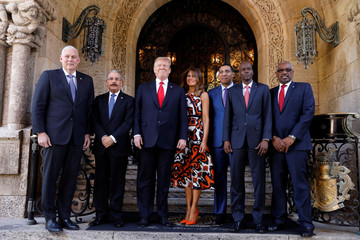U.S. President Trump participates in a working visit with Caribbean leaders at Mar-a-Lago in Palm Beach, Florida