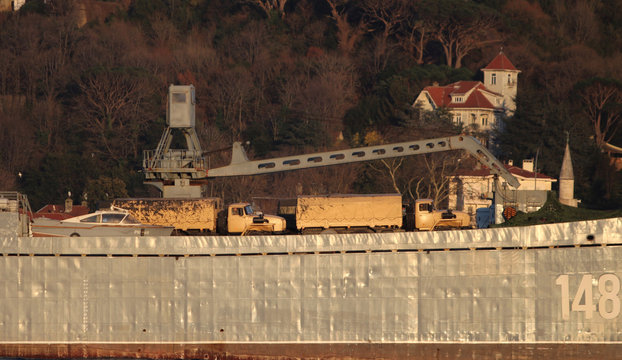 The Russian Navy's large landing ship Orsk sails in the Bosphorus, on its way to the Mediterranean Sea, in Istanbul
