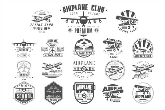 Set of vintage airplane logos. Original monochrome emblems with silhouettes of aircrafts. Typography vector design for flying club, pilot school or poster