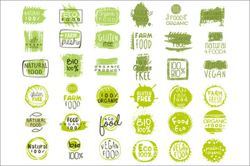 Vector set of bright green stickers with text for packing natural products. Vegan eating. Organic and healthy food signs. Typography design elements Wall mural