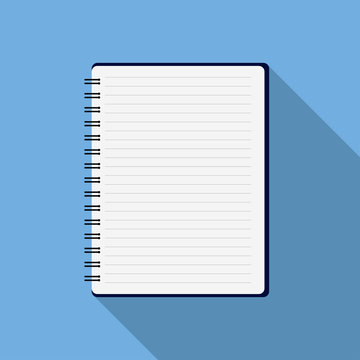 Notepad education on blue background with shadows empty paper work paper success checklist report page work. Flat design EPS 10