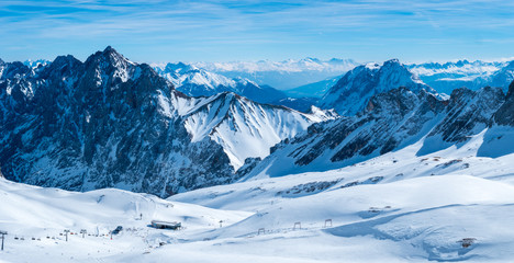 View from the German Zugspitze across the top of a snow mountain landscape Wall mural