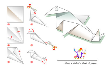 Printable template for kids with instructions for folding paper game Origami. Using scissors make a bird of a sheet of paper. Developing children skills for hand work. Back to school. Vector image.