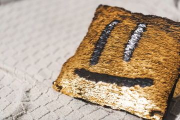 Double-sided sequins. Gold and black sequins. Pillow with sequins and smiley. Good morning. Smile on the pillow.