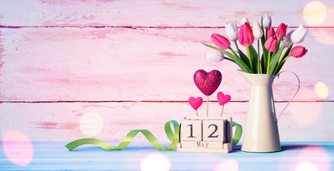 Mothers Day Greeting Card - Tulips And Calendar On Shabby Table