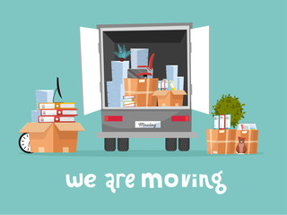 Corporate Moving into new office Concept. Business Relocation in new place. Things in Box in Truck set. Moving Furniture. Van with monitor and stacks of folders. Vector flat cartoon illustration
