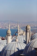 Foto op Canvas Turkije Image of coastal zone, buildings with domes, sea, sky .