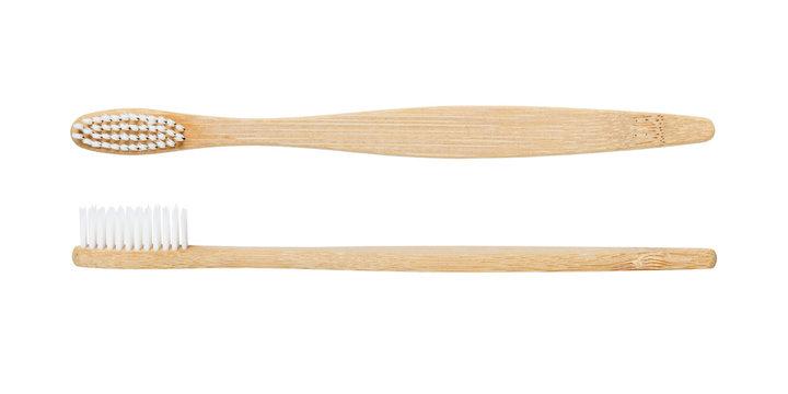 Bamboo toothbrush isolated on white background