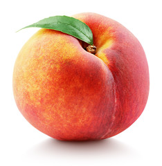 Ripe whole peach fruit with green leaf isolated on white background with clipping path. Full depth of field.