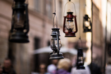 Gas lamps decor in famous cafe Gasova Lyampa in center of Lviv