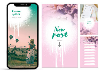 Social Media Story Posts with Pink Accents