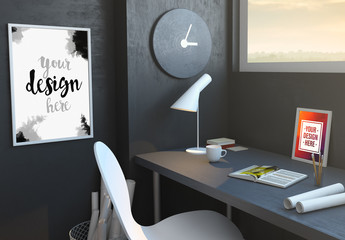 Desktop Mockup with Book, Poster, and Photo
