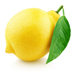 Ripe whole yellow lemon citrus fruit with green leaf isolated on white background. With clipping path. Full depth of field.