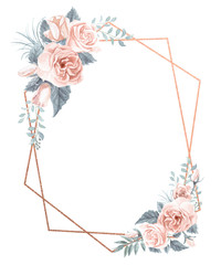 Watercolor Floral Geometric Frame