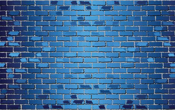 Shiny Blue Brick Wall - Illustration,  Abstract vector background
