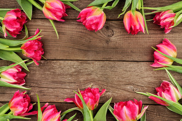 Frame of pink tulip flowers against a rustic wood background with copy space