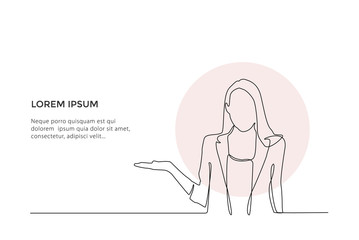 Continuous line drawing. Young businesswoman welcoming you isolated on white background - Vector
